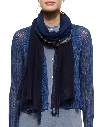 Ombre Cotton Scarf W/ Tassels