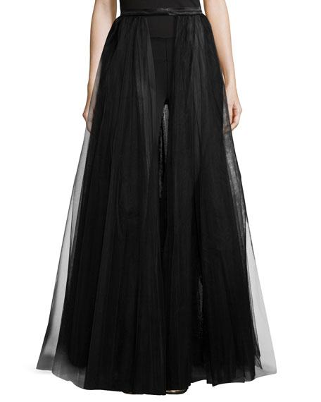 ML Monique Lhuillier Long Ball Skirt, Black