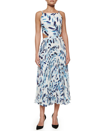 Mara Brush-Print Pleated Cutout Dress
