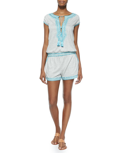 Luseli Short Striped Romper, White/Blue