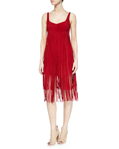 Suede Fringe Romper Dress, Dress