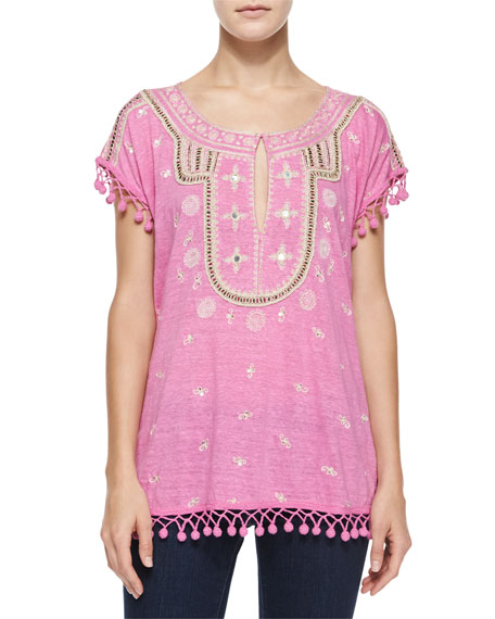 Calypso St. Barth Ordia Embroidered Linen Tee w/