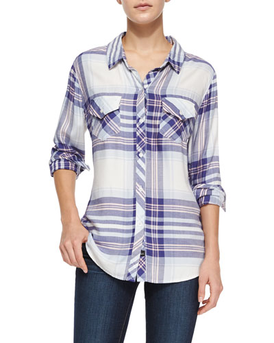 Carmen Long-Sleeve Plaid Shirt, Periwinkle/Blush
