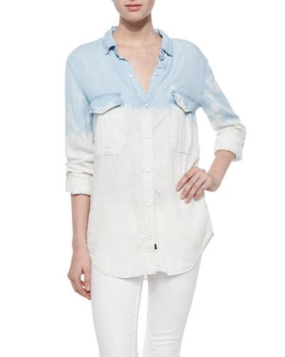 Long-Sleeve Ombre Marlow Shirt, Blue/White