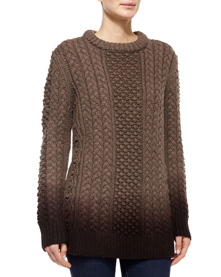 Michael Kors Collection Aran Dip-Dye Sweater, Chestnut