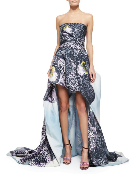 Monique Lhuillier Strapless Orchid-Print Draped High-Low Gown