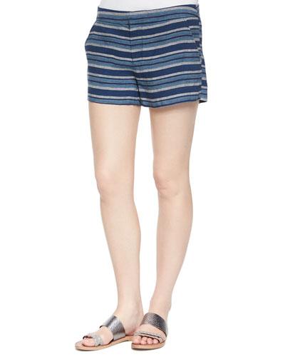 Merci Low-Rise Striped Shorts, Dark Navy