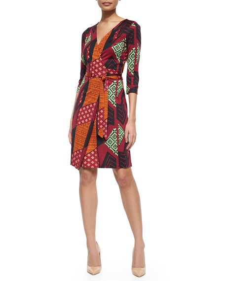 Diane von Furstenberg Silk Tribal-Print Wrap Dress, Multicolor