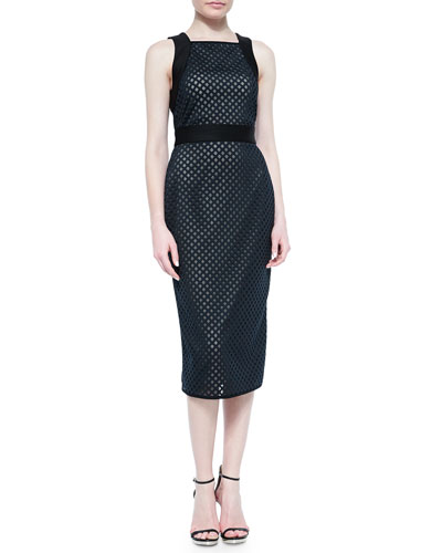 Sleeveless Laser-Cut Scuba Dress