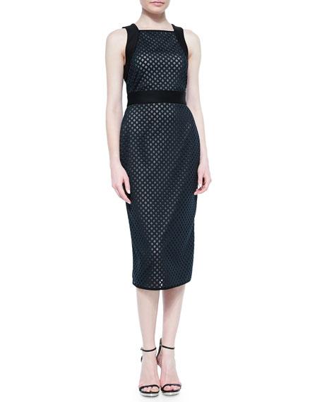 Shoshanna Sleeveless Laser-Cut Scuba Dress