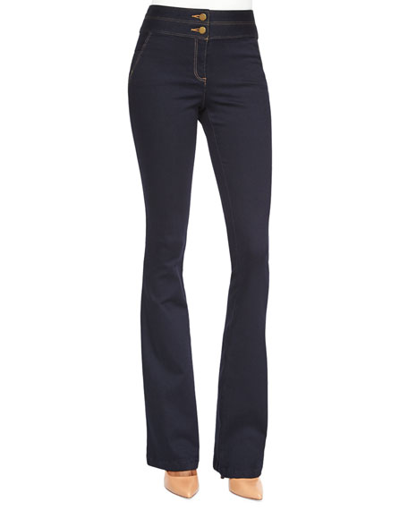 Veronica Beard High-Waist Flared Denim Pants