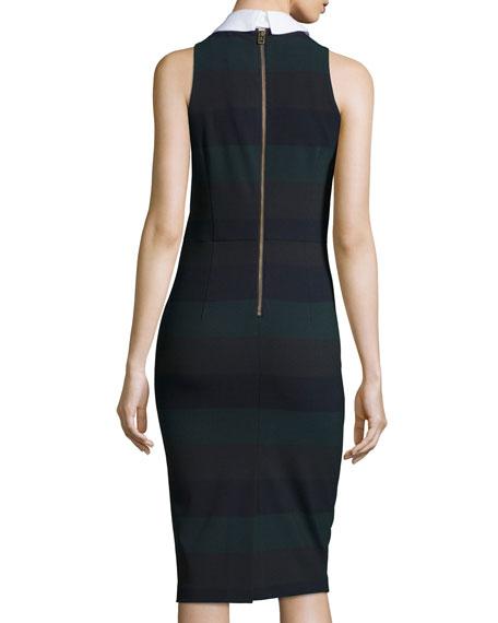 Sleeveless Cedar Pencil Dress, Green Stripe