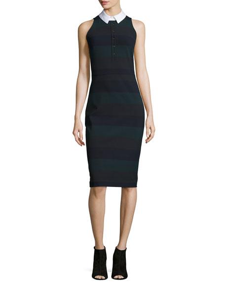 Veronica Beard Sleeveless Cedar Pencil Dress, Green Stripe