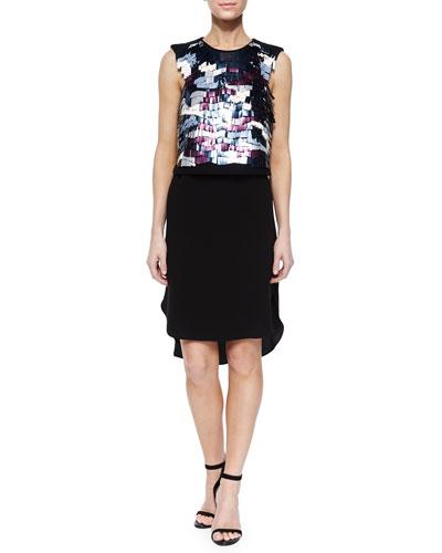 Baguette-Sequin Beading Dress, Black Multi