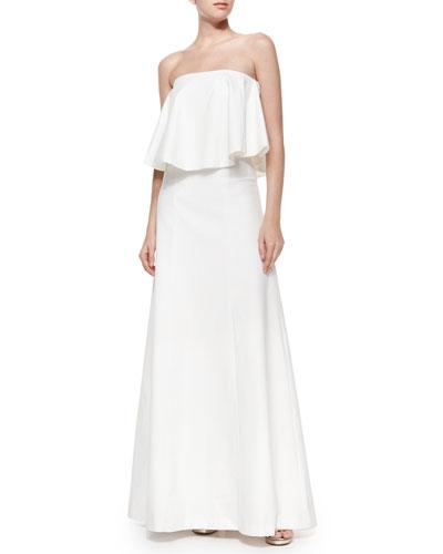 Ola Strapless Gown w/Draped Overlay, White