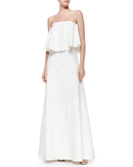 Alexis Ola Strapless Gown w/Draped Overlay, White