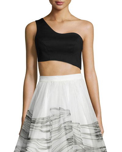 Liraz Asymmetric Crop Top, Black