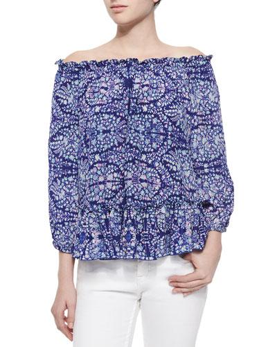 Paisley-Print Silk Blouse, Indigo Combo