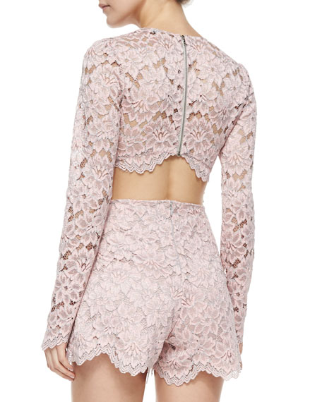 Long-Sleeve Lace Short Romper