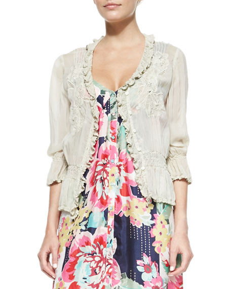 Johnny Was Collection 3/4-Sleeve Georgette Pintuck Cardigan