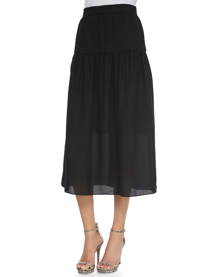 NM EXCLUSIVE Linen Peasant Maxi Skirt, Black