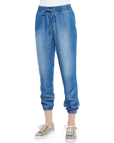 Drawstring-Waist Chambray Track Pants
