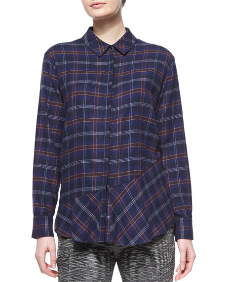 Thakoon Addition Plaid Flannel Open-Back Shirt, Navy