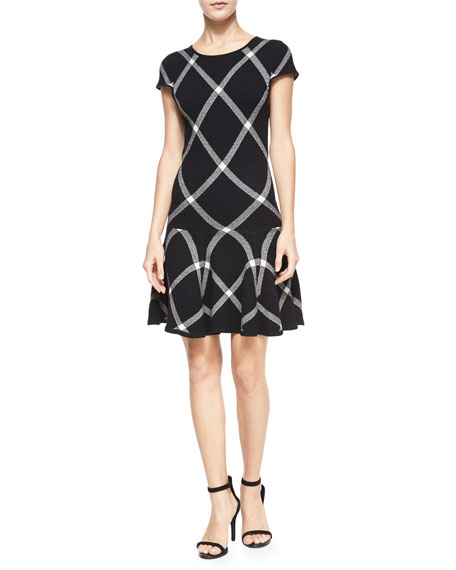 Alice + Olivia Diagonal Plaid Drop-Waist Dress, Black