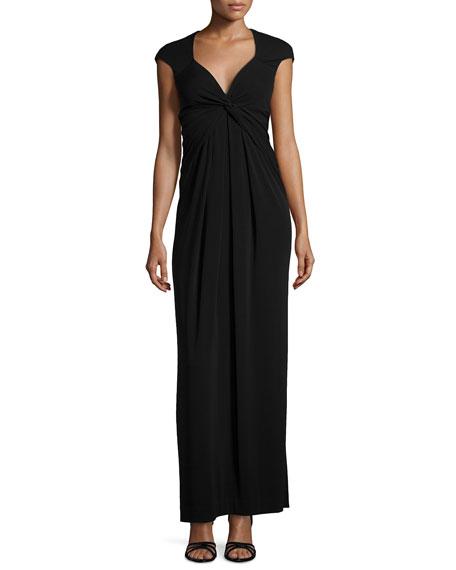 Nicole Miller Cap-Sleeve Gown, Black