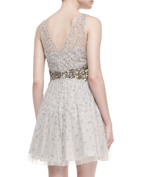 Beaded Sleeveless V-Neck Dress, Silver