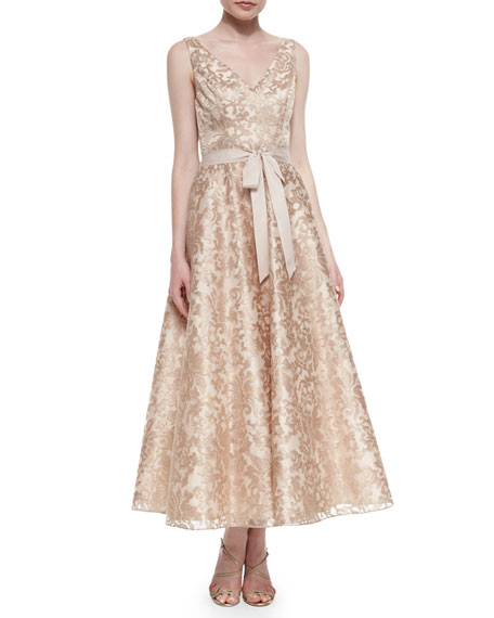 Aidan Mattox Sleeveless Lace Tea-Length Dress, Rose Gold