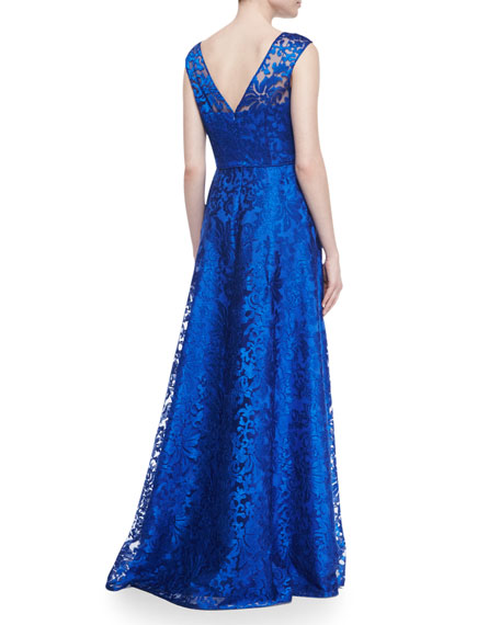 Sleeveless Floral Lace Ball Gown, Neptune