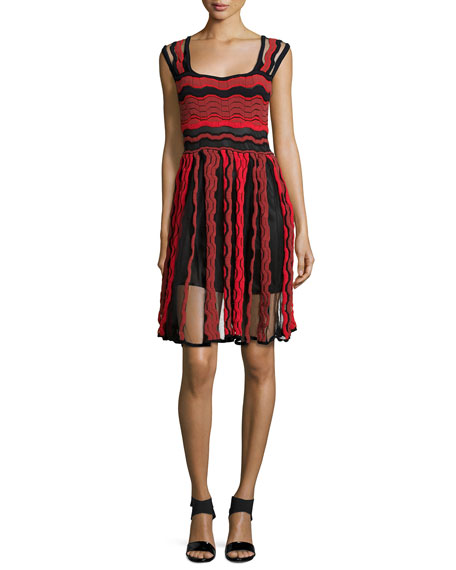 M Missoni Sleeveless Sheer Greek-Key Dress, Red