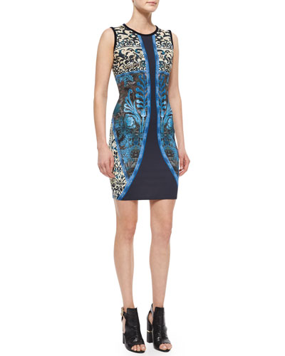 Tapestry-Print Sleeveless Jersey Dress
