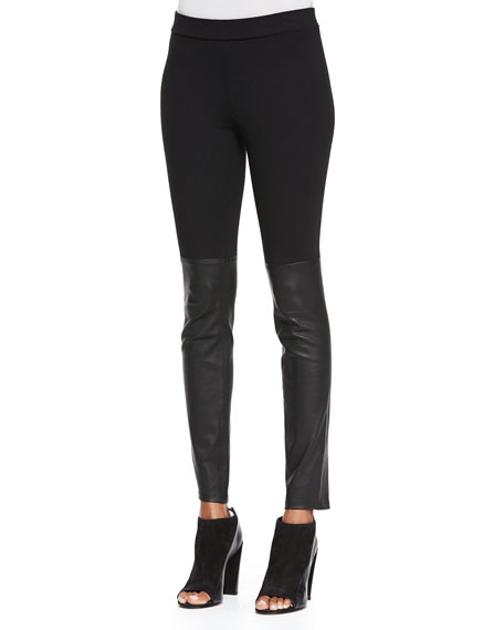 Vince Mixed Media Leather Leggings, Black