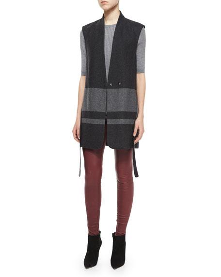 Vince Blanket-Stripe Wool Vest