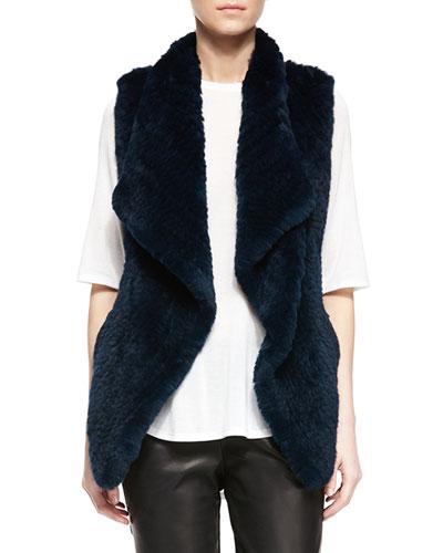 Rabbit Fur Draped Vest, Lake