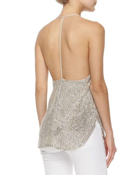 Sequined T-Back Mesh Top, Buff
