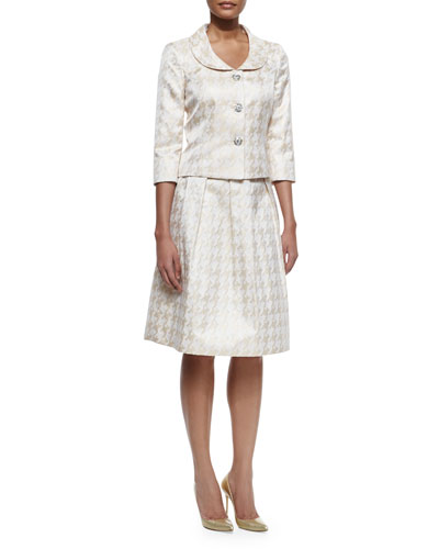 Houndstooth Jacket and Skirt Suit Set, Champagne