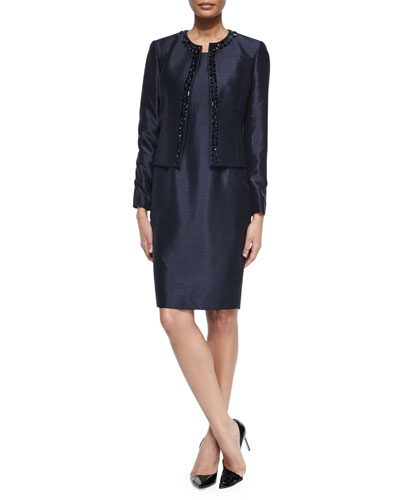 Sleeveless Sheath Dress & Beaded Jacket Set, Midnight