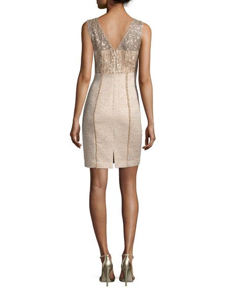 Sleeveless Sequined Tweed Sheath Dress