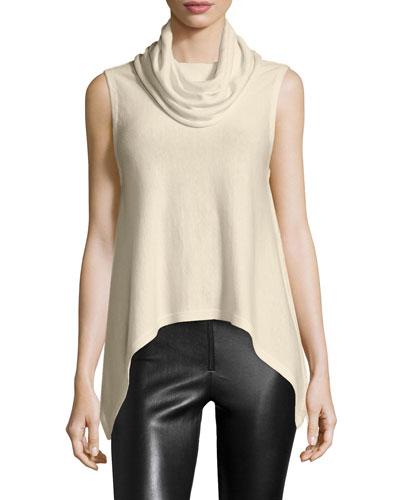 Arched-Hem Sleeveless Knit Top