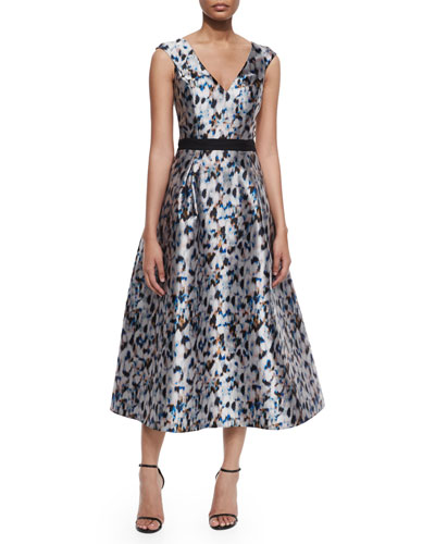 Confetti-Print Tea-Length Dress, Slate