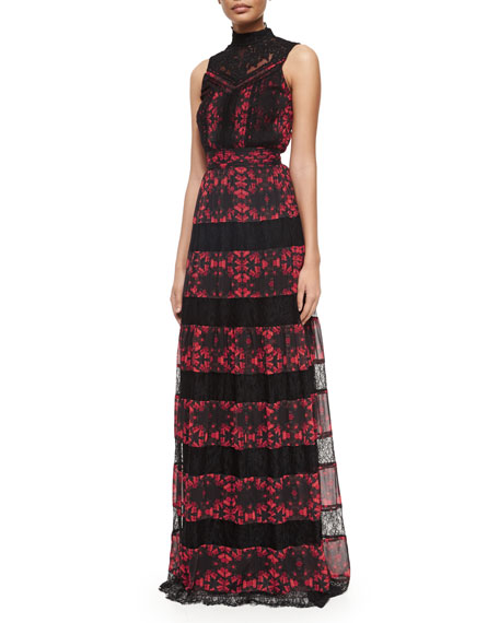 Alice + Olivia Briella Printed/Lace Tiered Gown