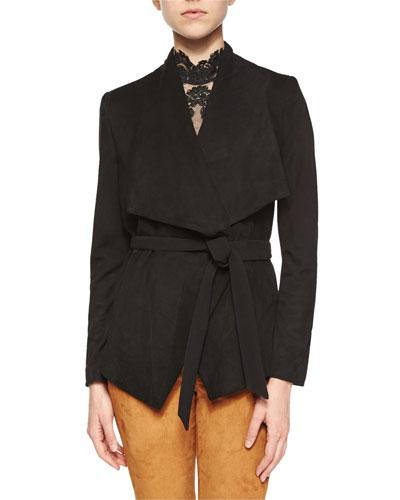 Riko Suede/Knit Tie-Waist Jacket