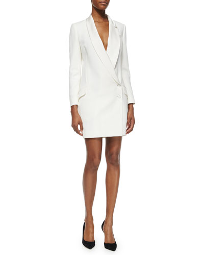 Asymmetric Two-Button Tuxedo Dress