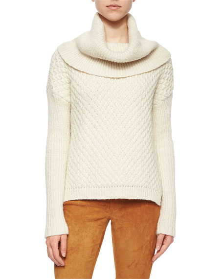 Paxton Mixed-Chunky-Knit Cowl Sweater
