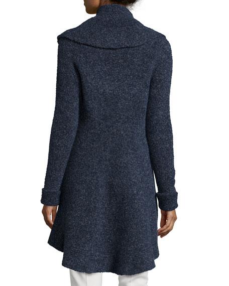 Long-Sleeve Ruffle-Front Cardigan, Ink Melange