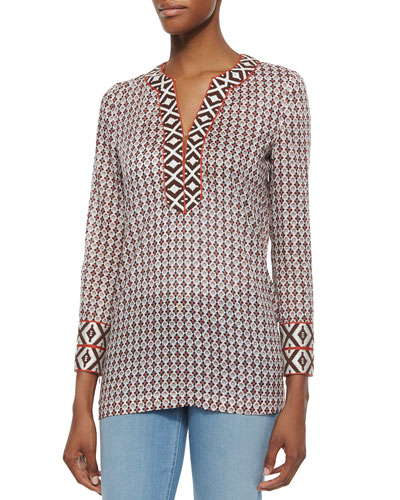 Tory Printed Tunic W/ Contrast Trim