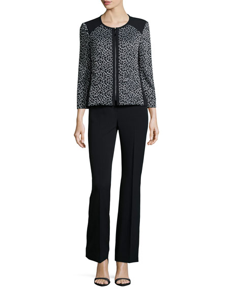 Albert Nipon Animal-Print Zip-Front Two-Piece Pant Suit